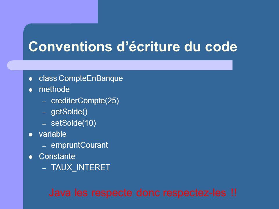 Conventions d'écriture du code
