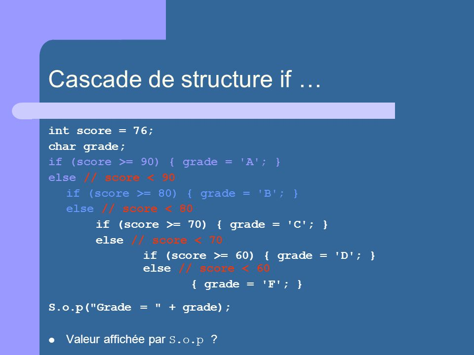Cascade de structure if …