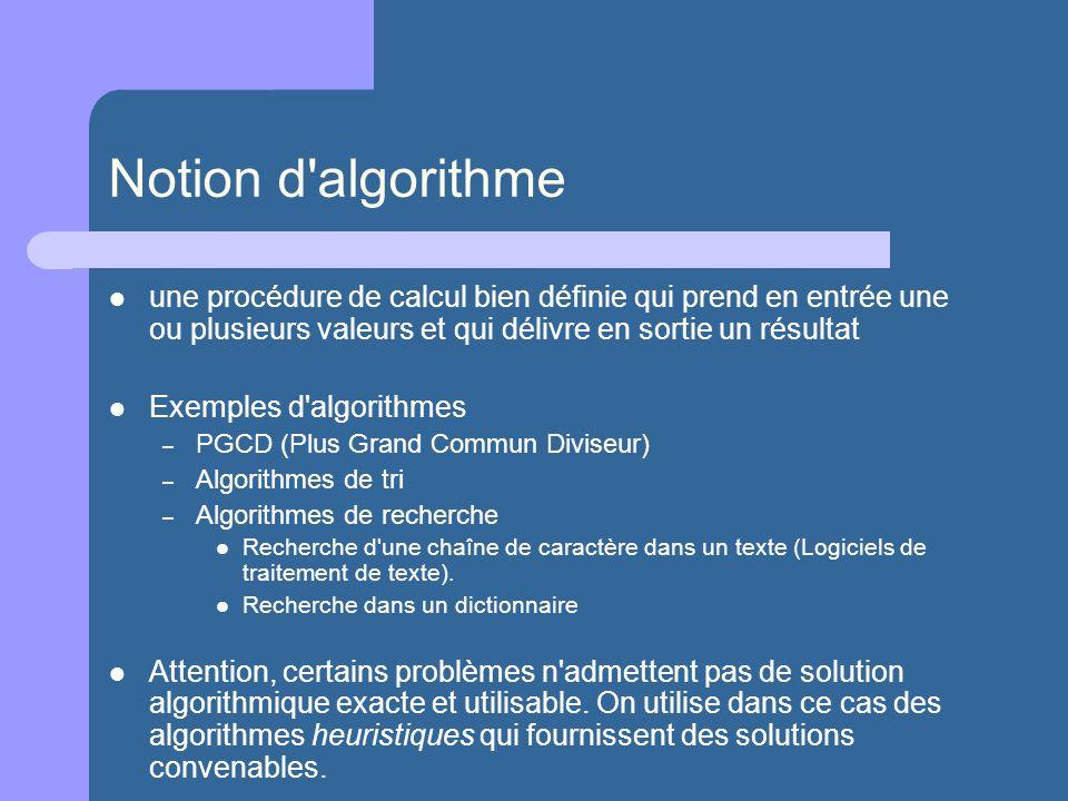Notion d algorithme une procédure de calcul bien définie qui prend en entrée une ou plusieurs valeurs et qui délivre en sortie un résultat.