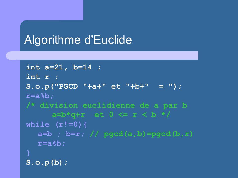 Algorithme d Euclide int a=21, b=14 ; int r ;