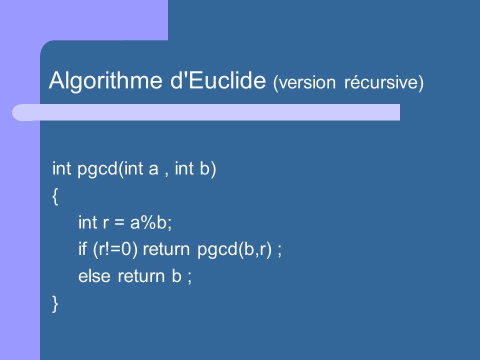 Algorithme d Euclide (version récursive)