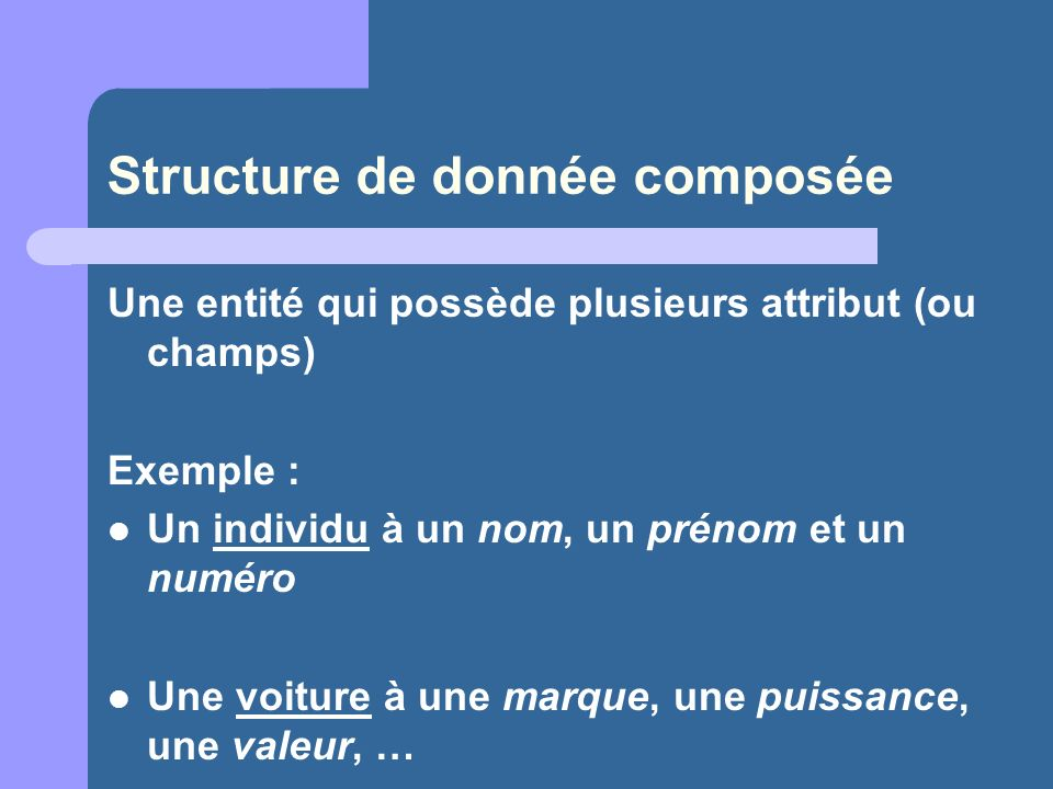 Structure de donnée composée