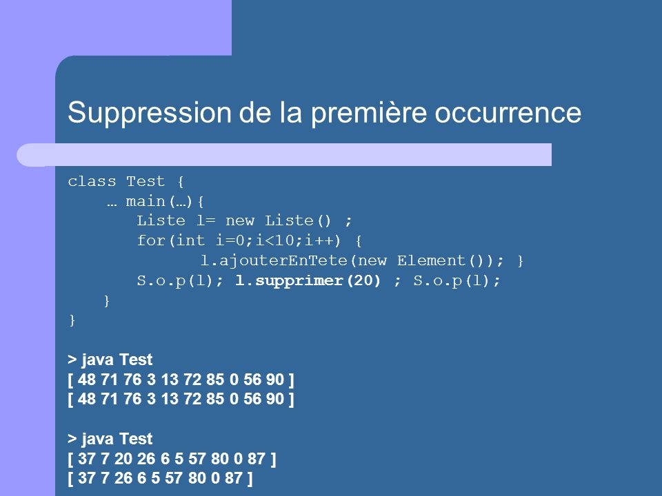 Suppression de la première occurrence