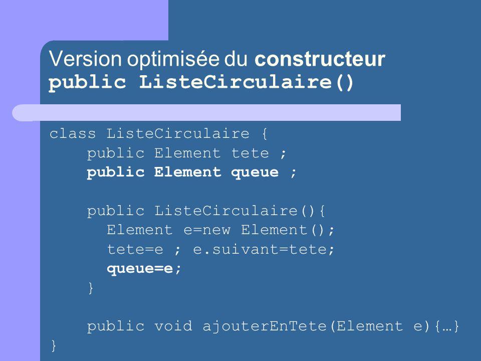 Version optimisée du constructeur public ListeCirculaire()