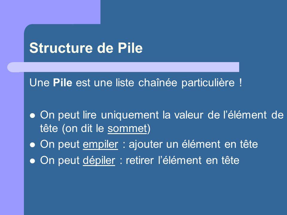Structure de Pile Une Pile est une liste chaînée particulière !