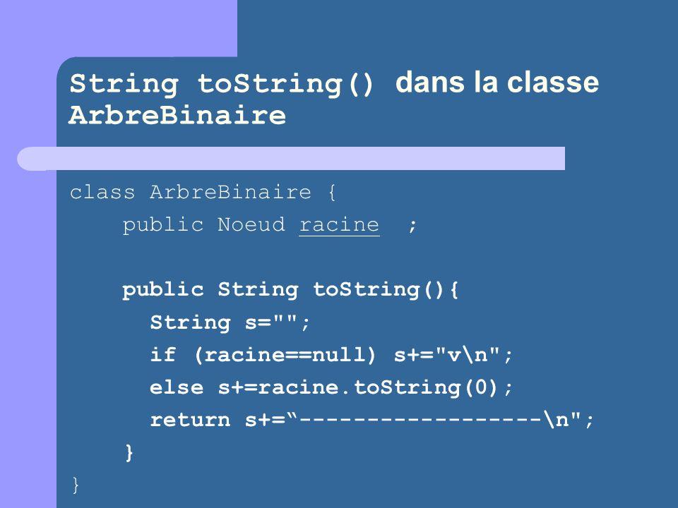 String toString() dans la classe ArbreBinaire