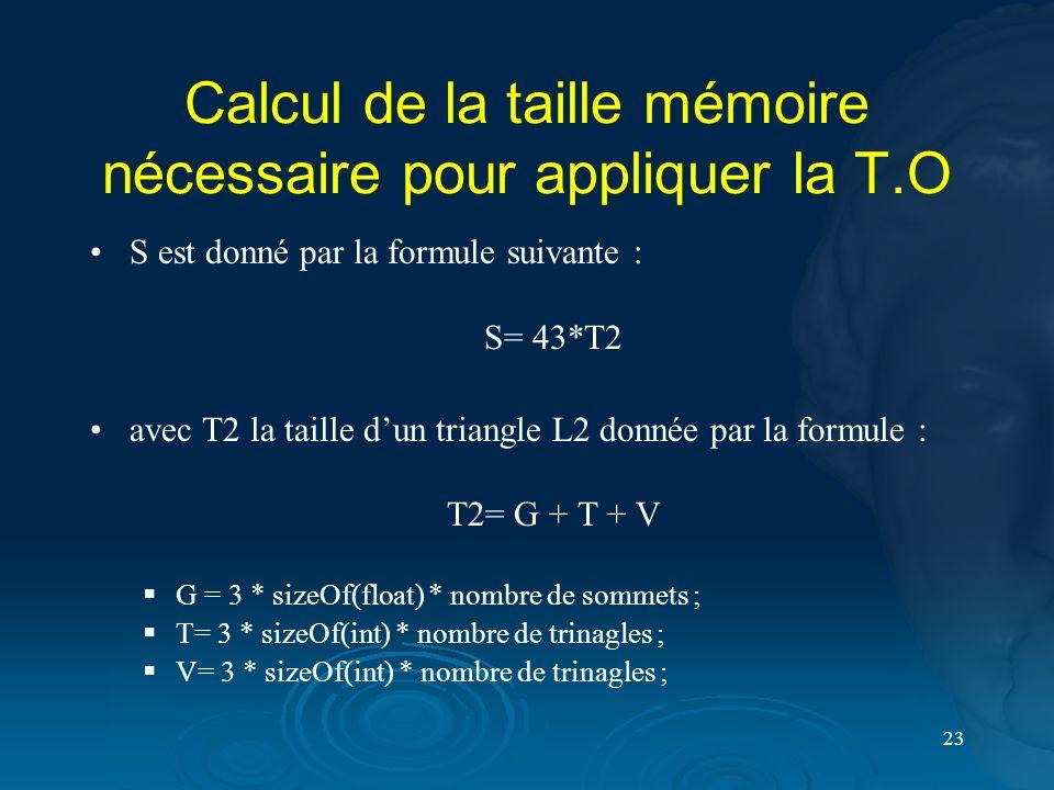 Calcul de la taille mémoire nécessaire pour appliquer la T.O