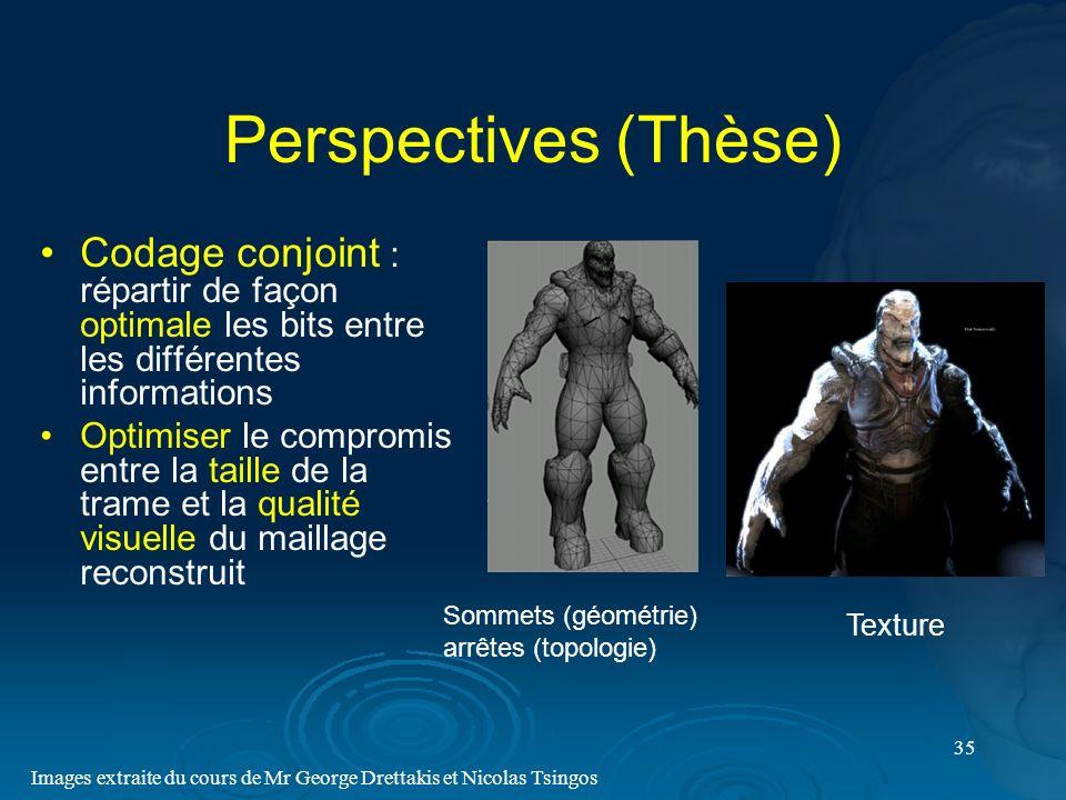 Perspectives (Thèse) Codage conjoint : répartir de façon optimale les bits entre les différentes informations.