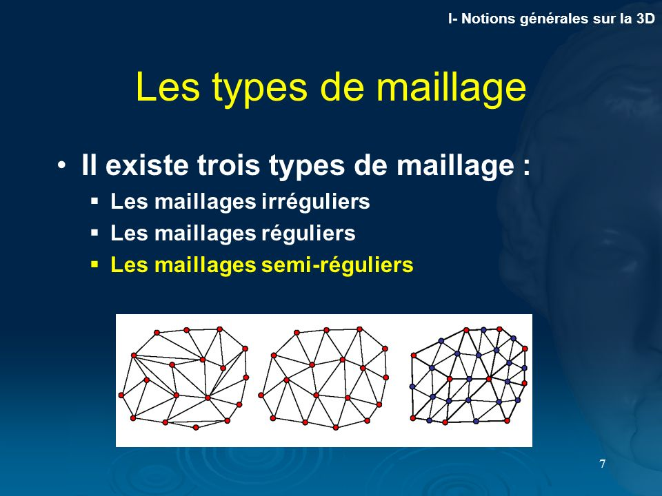 Les types de maillage Il existe trois types de maillage :