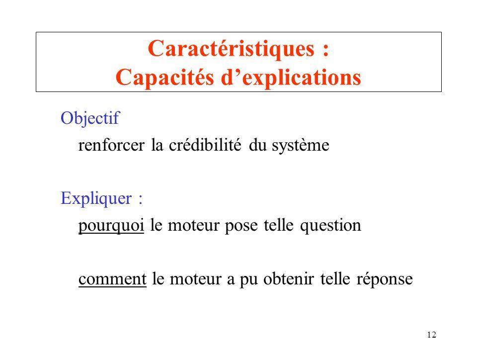 Caractéristiques : Capacités d'explications