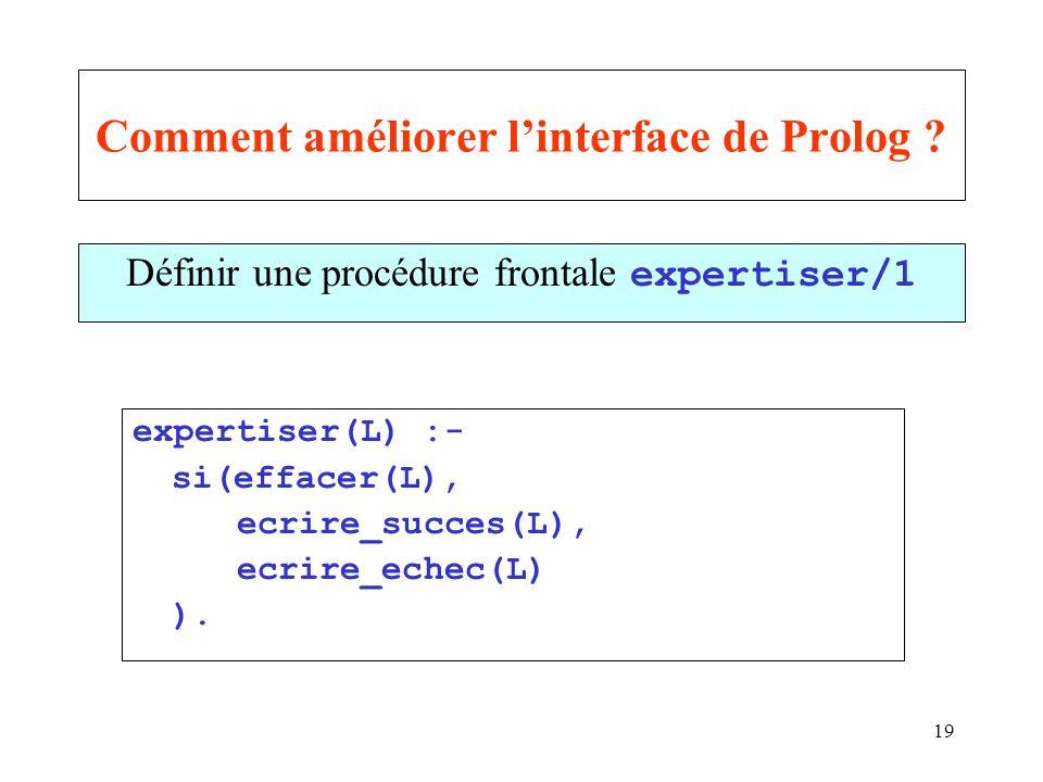 Comment améliorer l'interface de Prolog
