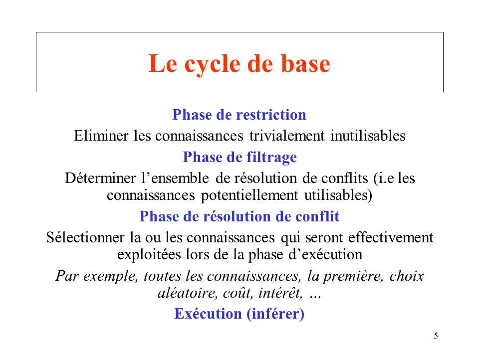Le cycle de base Phase de restriction