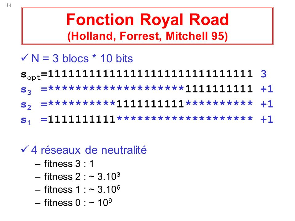 Fonction Royal Road (Holland, Forrest, Mitchell 95)