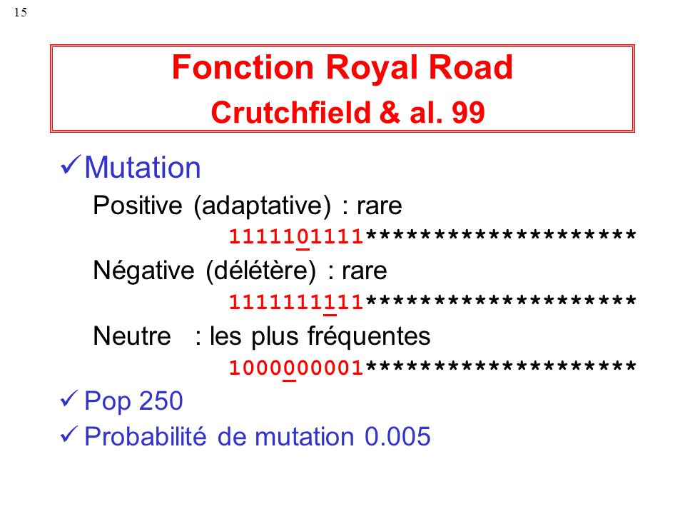 Fonction Royal Road Crutchfield & al. 99