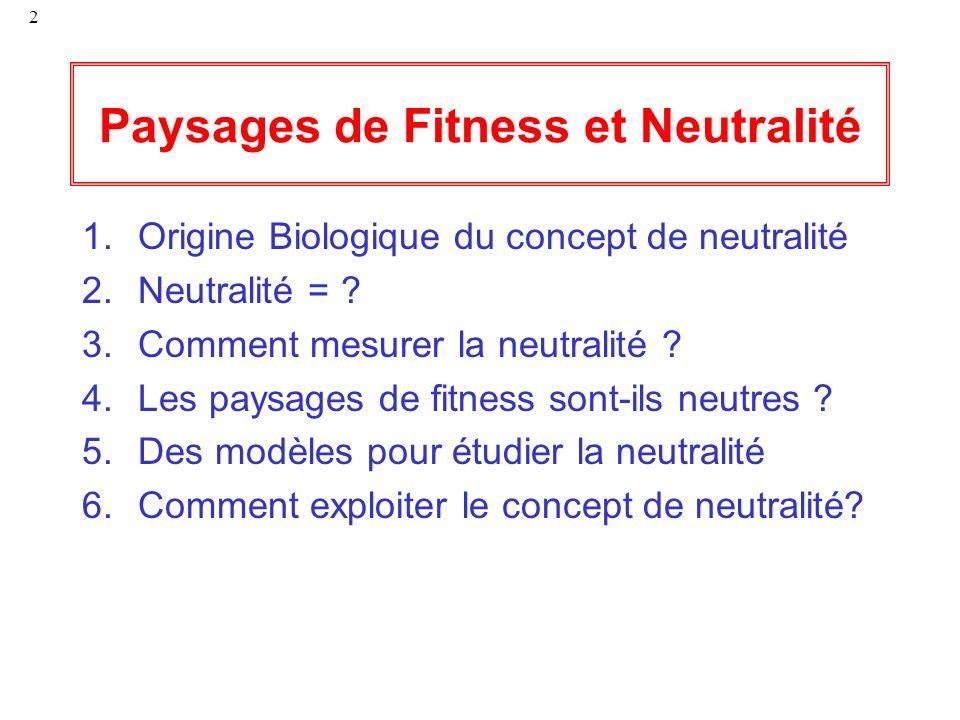 Paysages de Fitness et Neutralité