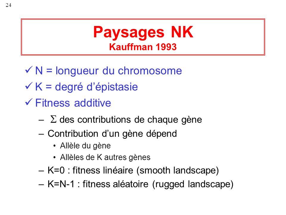 Paysages NK Kauffman 1993 N = longueur du chromosome