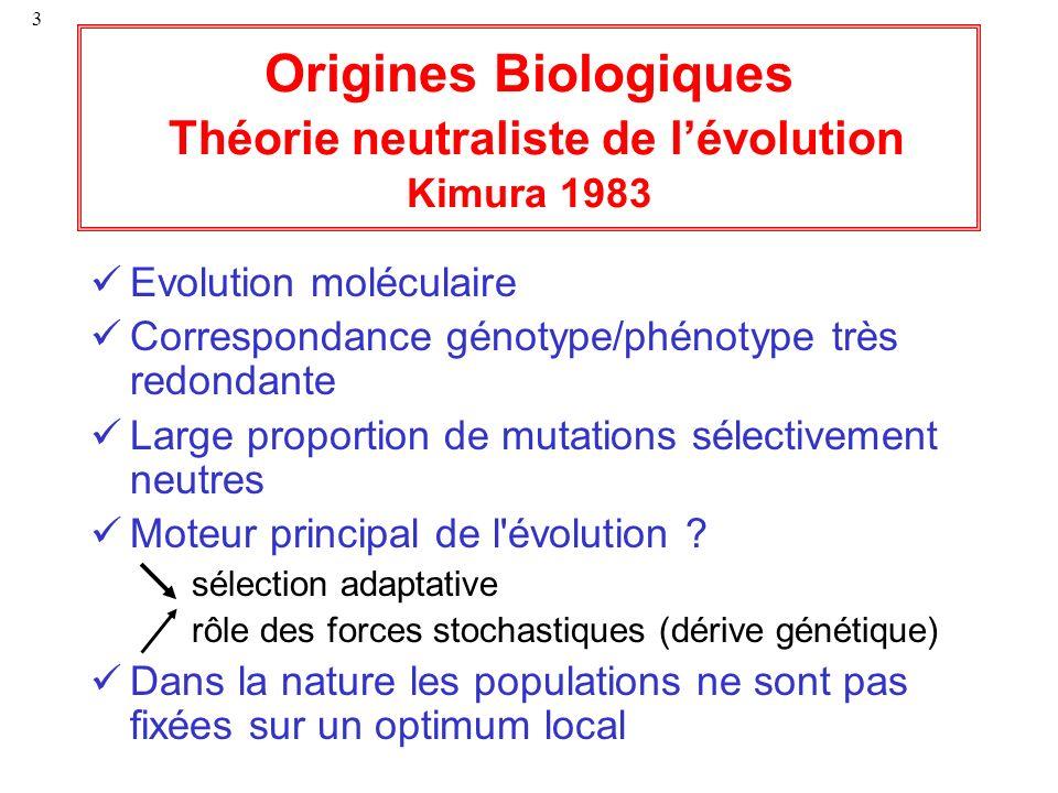 Origines Biologiques Théorie neutraliste de l'évolution Kimura 1983