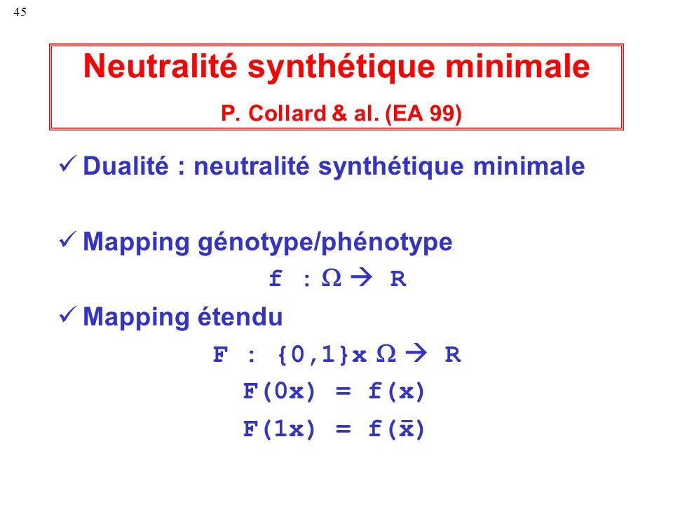 Neutralité synthétique minimale P. Collard & al. (EA 99)