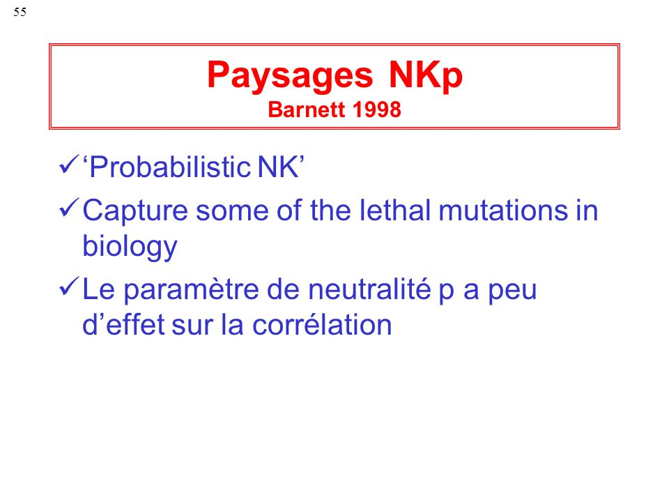 Paysages NKp Barnett 1998 'Probabilistic NK'