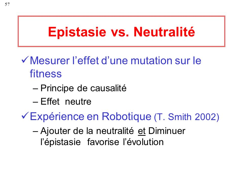 Epistasie vs. Neutralité
