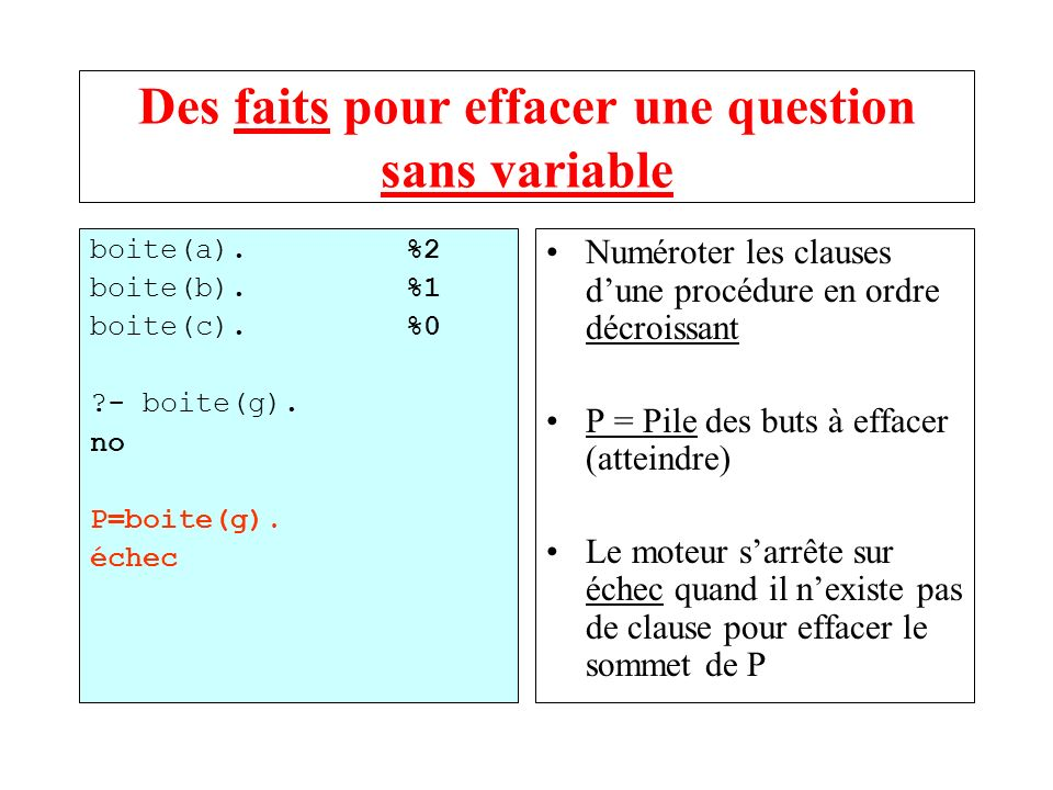 Des faits pour effacer une question sans variable