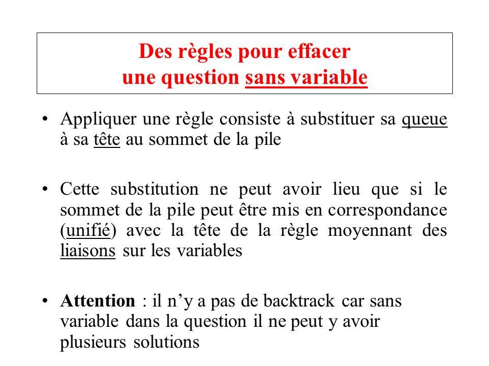 Des règles pour effacer une question sans variable