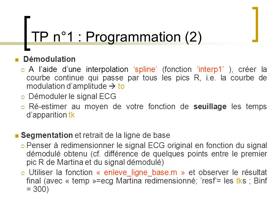 TP n°1 : Programmation (2)