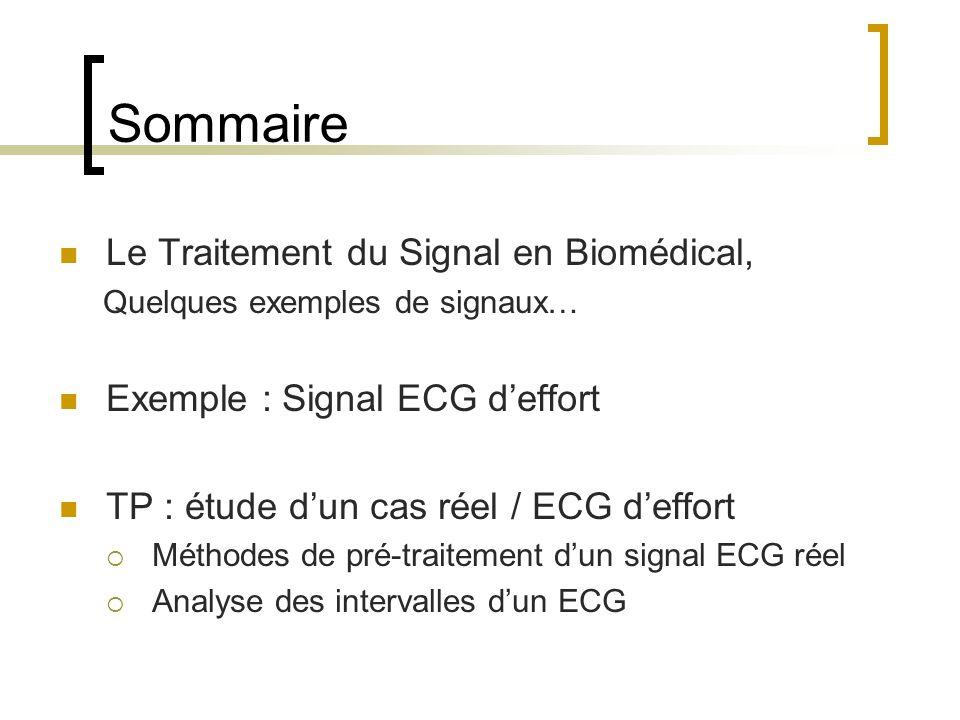 Sommaire Le Traitement du Signal en Biomédical,