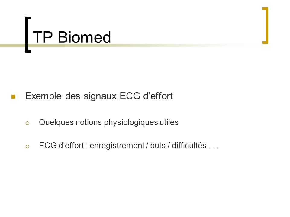 TP Biomed Exemple des signaux ECG d'effort