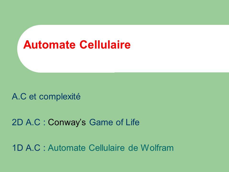 Automate Cellulaire A.C et complexité 2D A.C : Conway's Game of Life