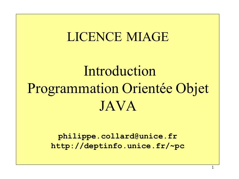 LICENCE MIAGE Introduction Programmation Orientée Objet JAVA philippe