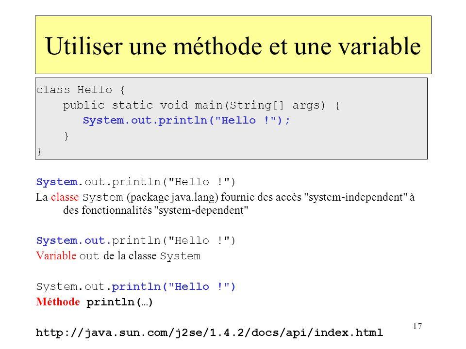 Utiliser une méthode et une variable