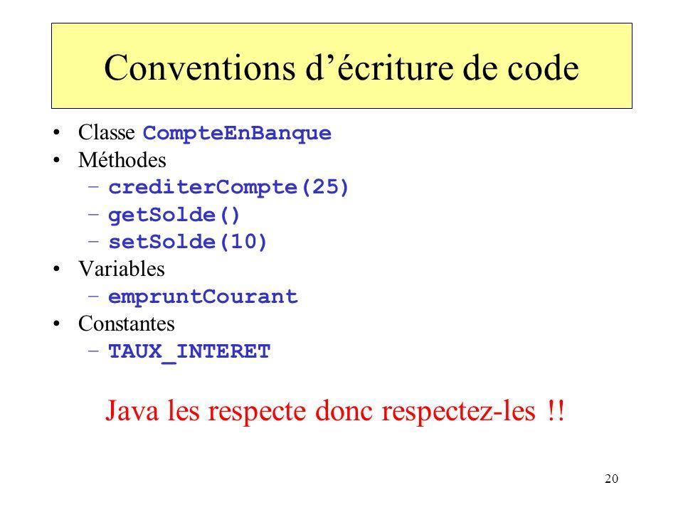 Conventions d'écriture de code