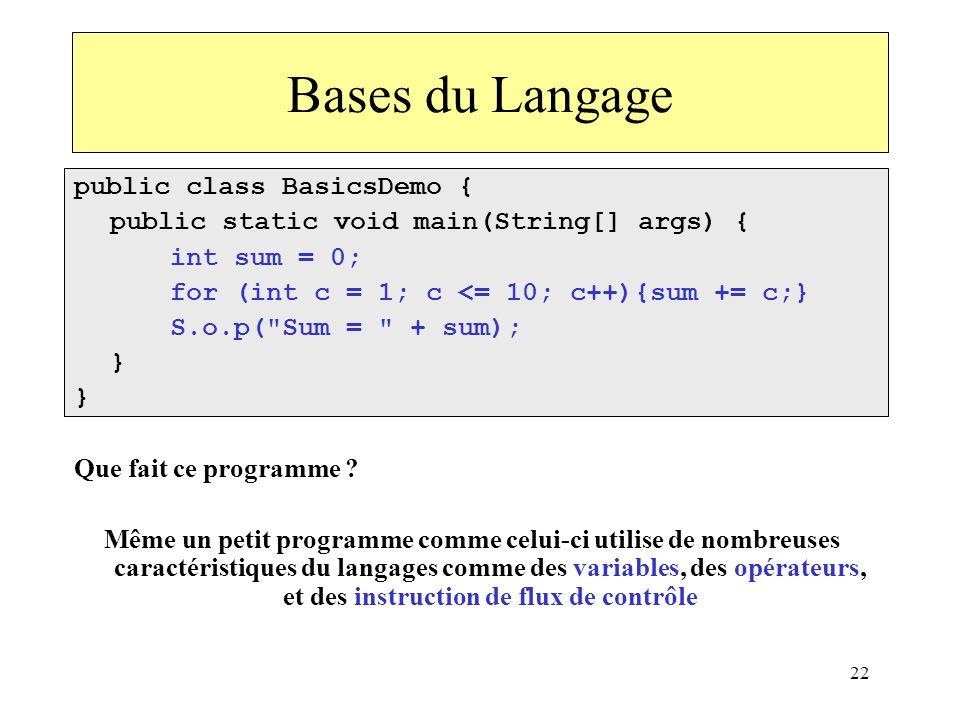 Bases du Langage public class BasicsDemo {
