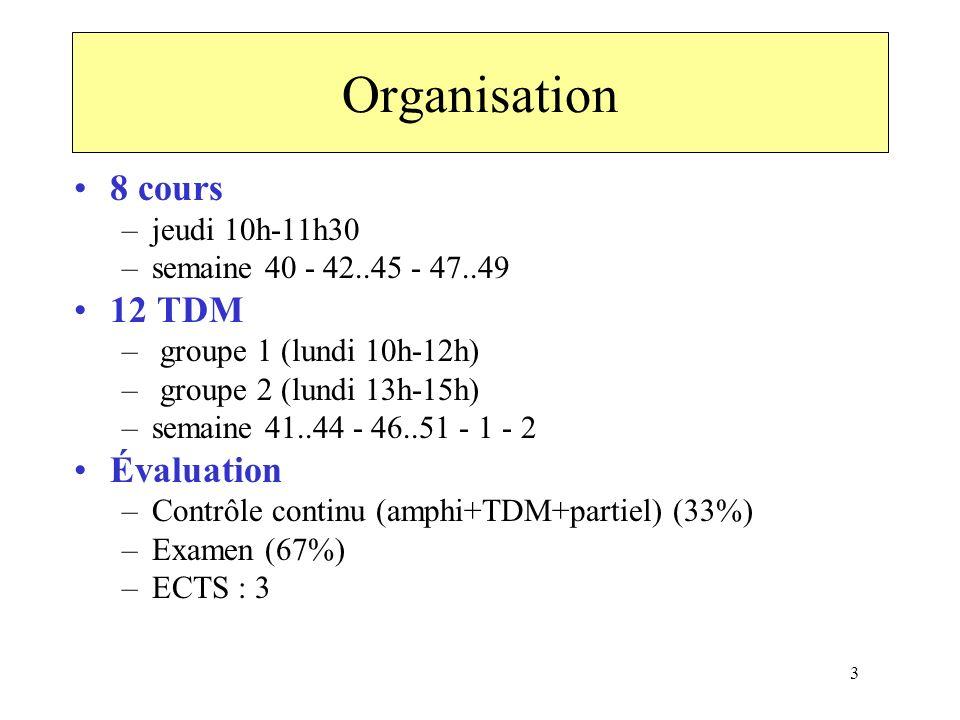 Organisation 8 cours 12 TDM Évaluation jeudi 10h-11h30