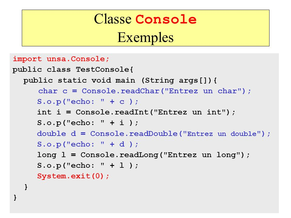 Classe Console Exemples