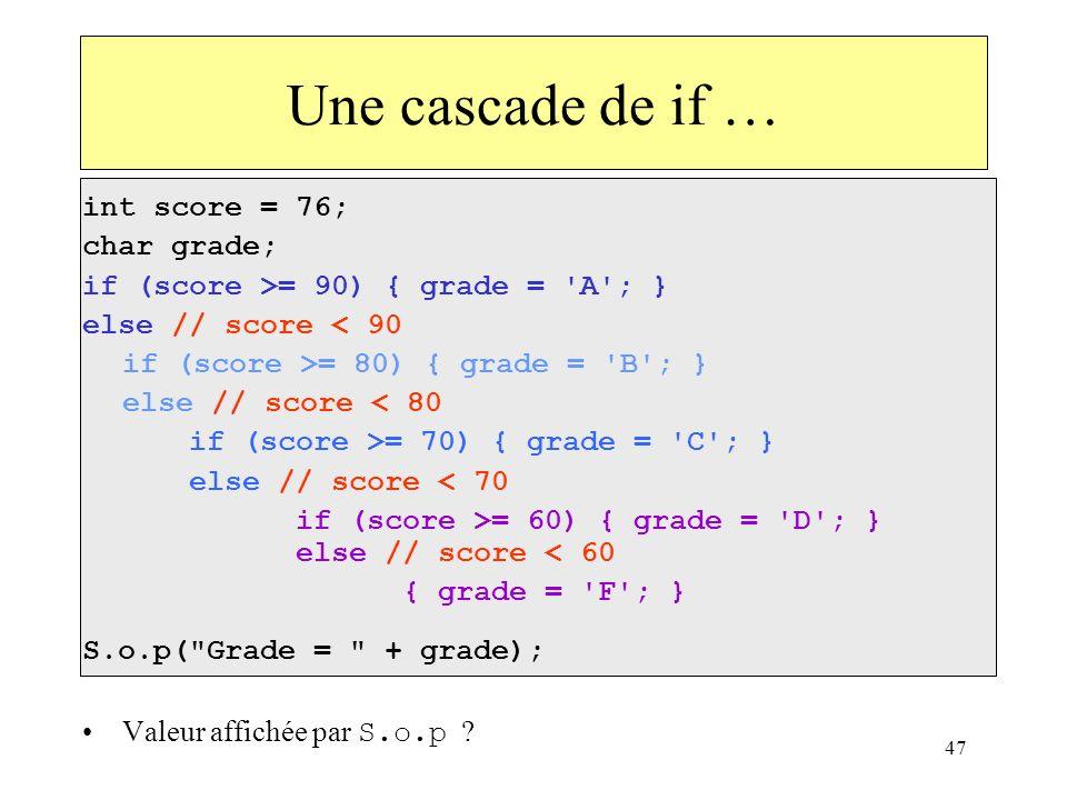 Une cascade de if … int score = 76; char grade;