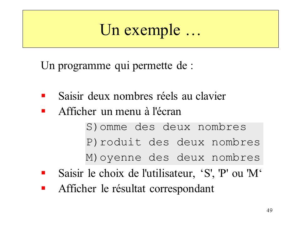 Un exemple … Un programme qui permette de :