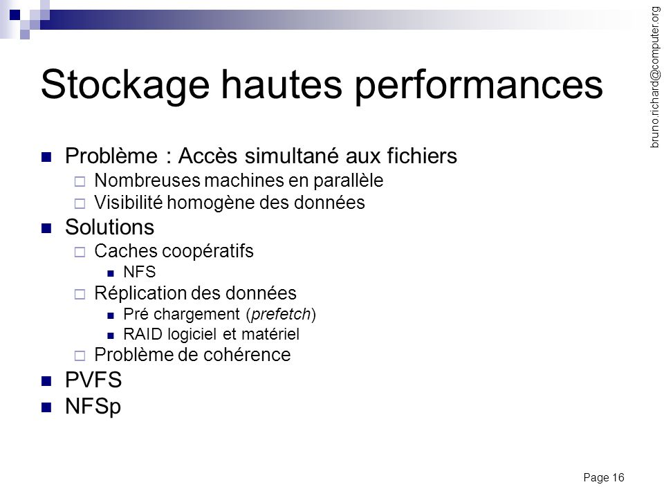 Stockage hautes performances