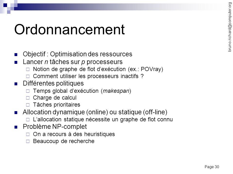 Ordonnancement Objectif : Optimisation des ressources