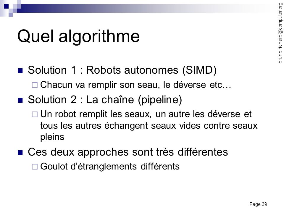 Quel algorithme Solution 1 : Robots autonomes (SIMD)