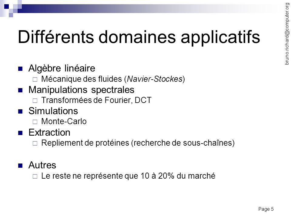 Différents domaines applicatifs