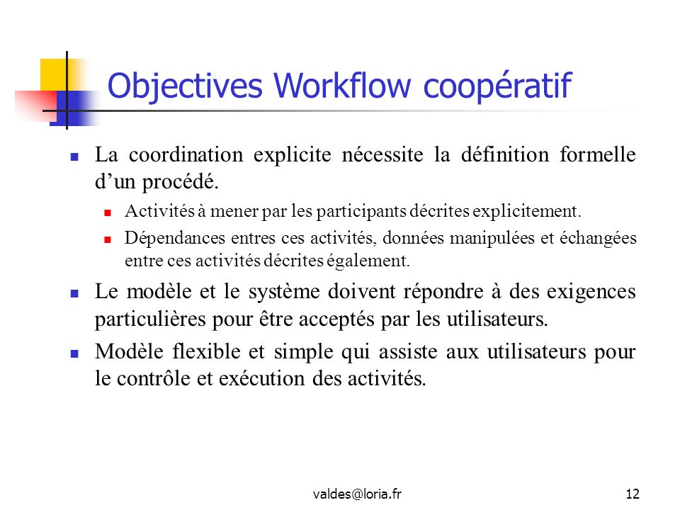 Objectives Workflow coopératif