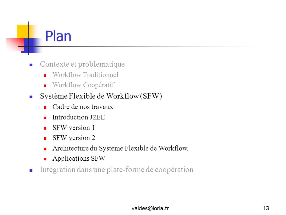 Plan Contexte et problematique Système Flexible de Workflow (SFW)