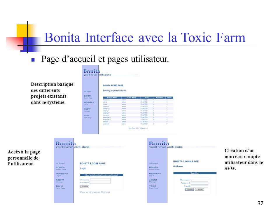 Bonita Interface avec la Toxic Farm