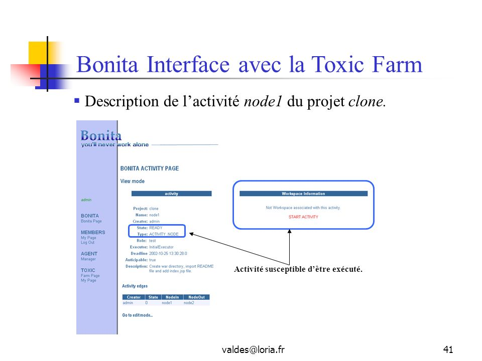 Bonita Interface avec la Toxic Farm