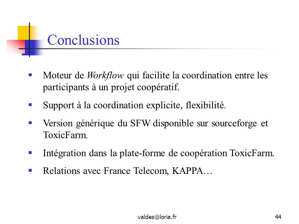 Conclusions Moteur de Workflow qui facilite la coordination entre les participants à un projet coopératif.