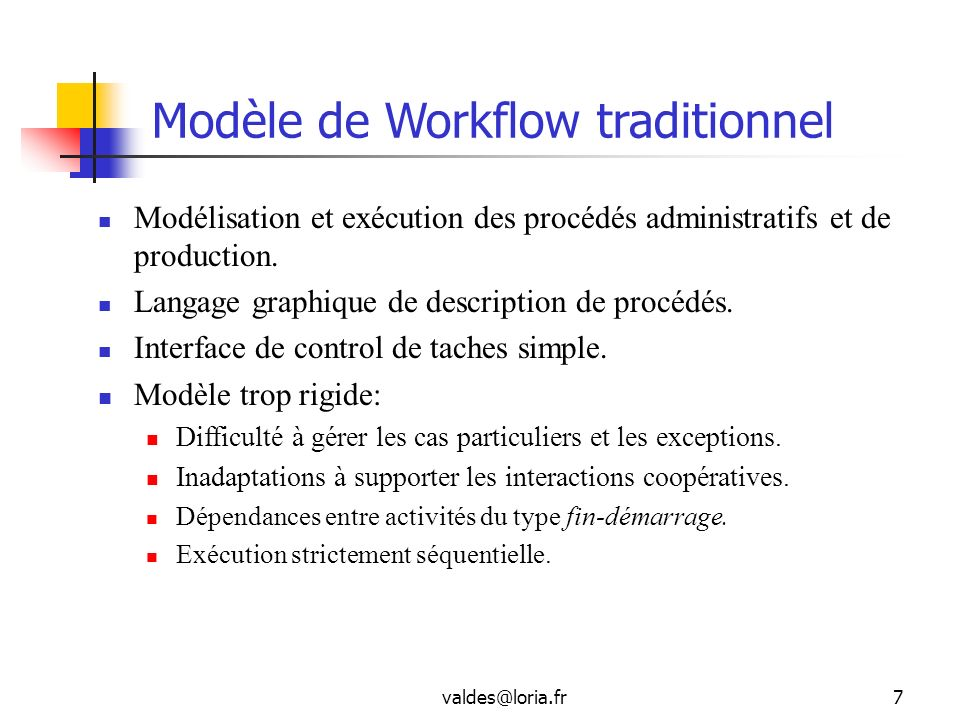Modèle de Workflow traditionnel