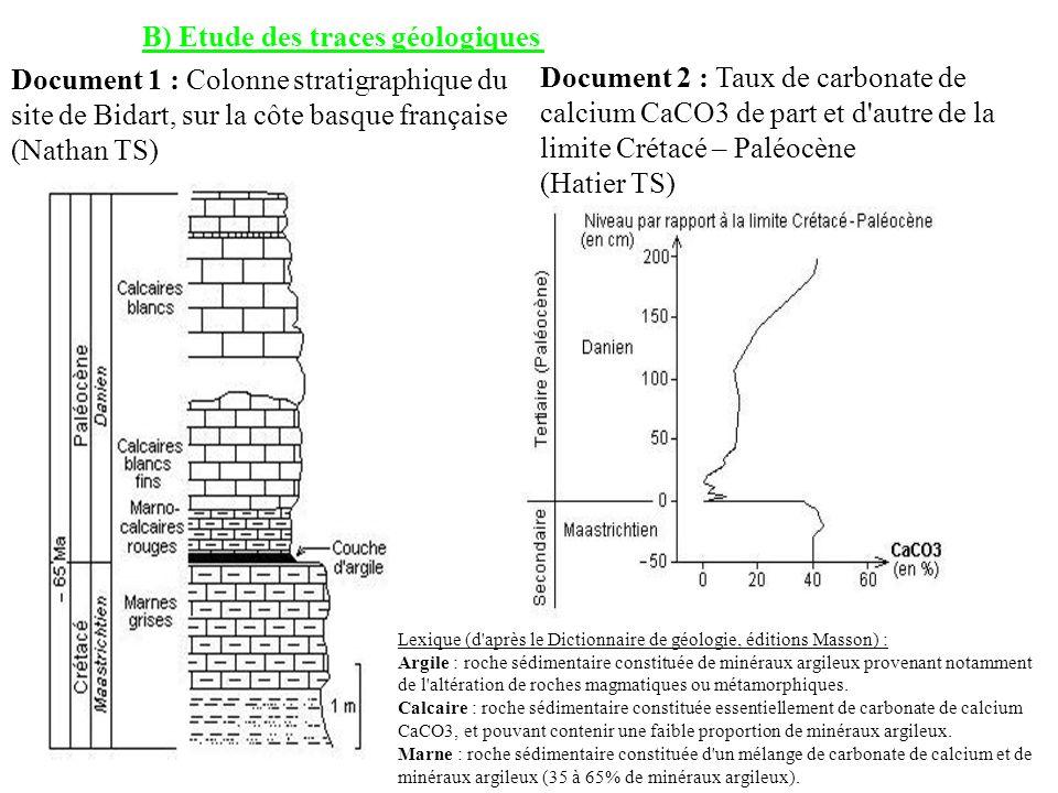 B) Etude des traces géologiques