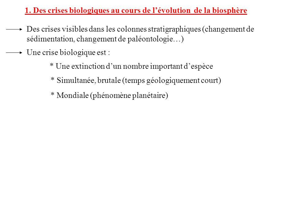 1. Des crises biologiques au cours de l'évolution de la biosphère
